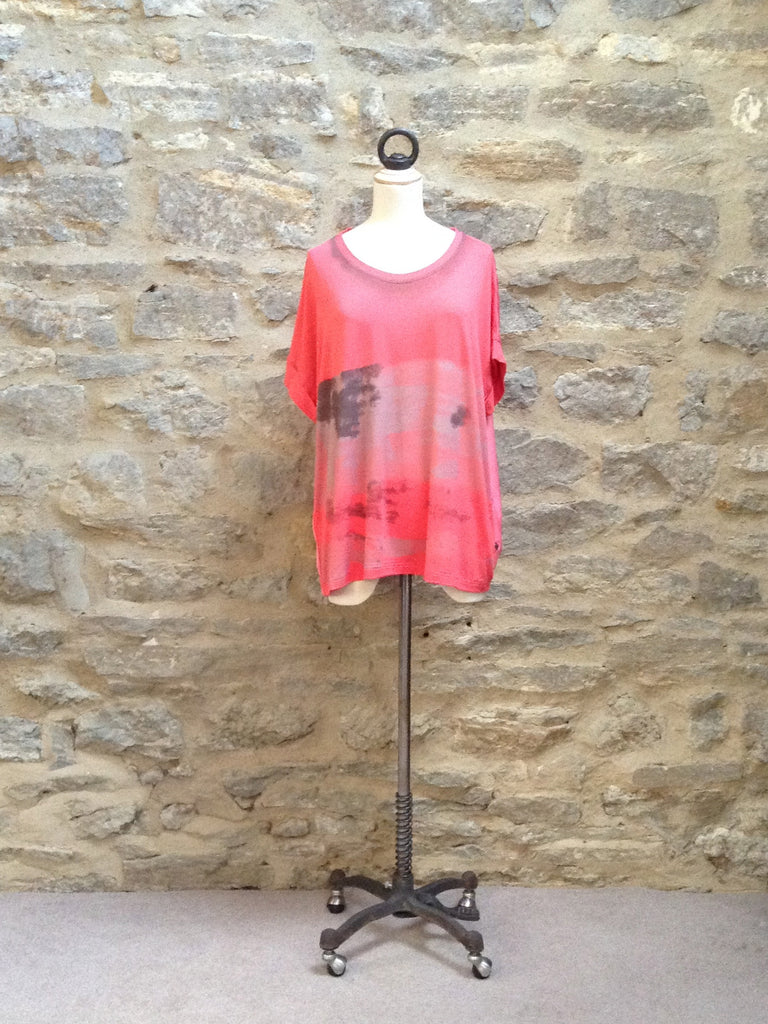 Plus Fine Tripoli Short Sleeved Oversize Style Top Pink
