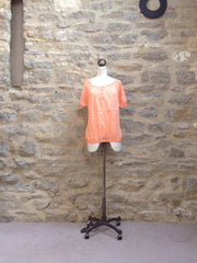b.young Gathered Neck Short Sleeve Cotton Top Peach