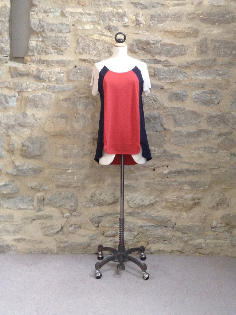 Great Plains Featherweight Jersey Colour Block T-Shirt Hacienda/Navy
