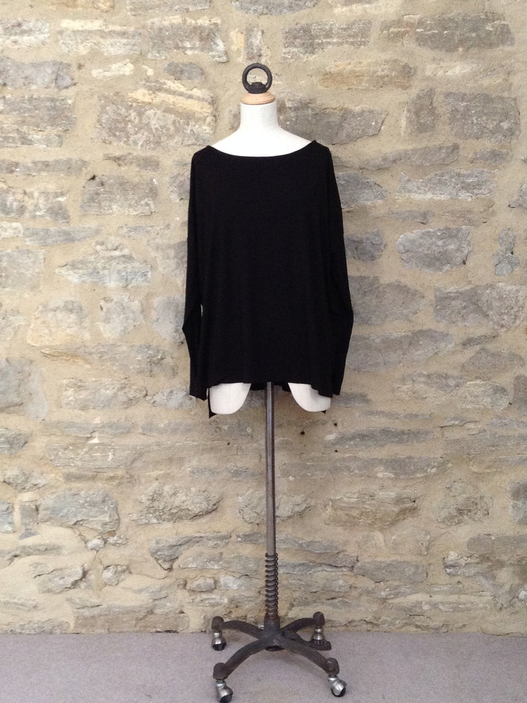 Great Plains Leonie Long Sleeve Top with Leather Look Cuff Black