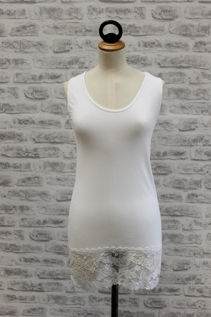 A Postcard From Brighton Sammy Long Vest with Lace Hem Daisy White