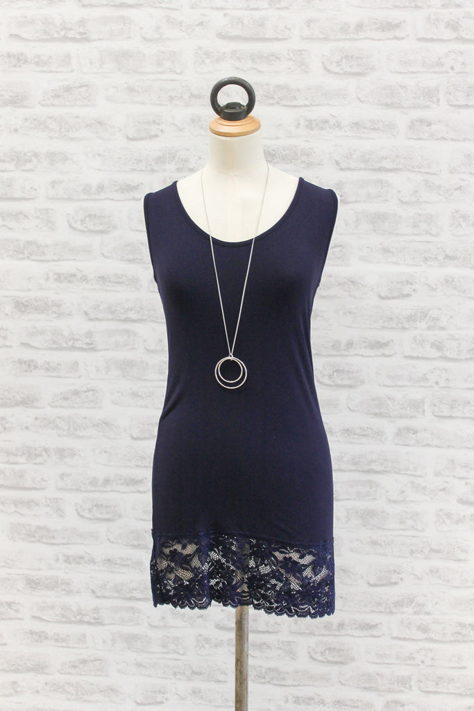 A Postcard From Brighton Sammy Long Vest with Lace Hem Navy