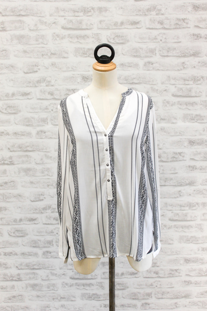 SAINT TROPEZ Long Sleeve Shirt White / Black Stripe