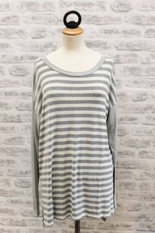 A Postcard from Brighton Flis Mixed Stripe stepped back top BONE