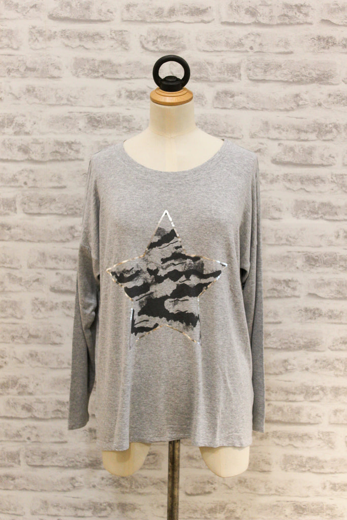 A Postcard From Brighton Stormy Star Print Long Sleeved Tee Daisy Grey
