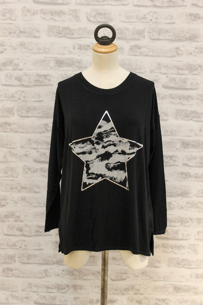 A Postcard From Brighton Stormy Star Print Long Sleeved Tee Black