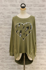 A Postcard From Brighton Secret Skin Heart Print Sweat Olive