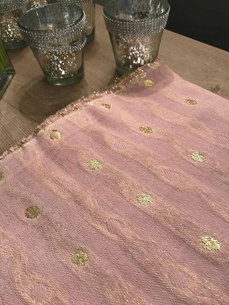 SAINT TROPEZ Shimmer Dots Large Scarf, Pink/Gold