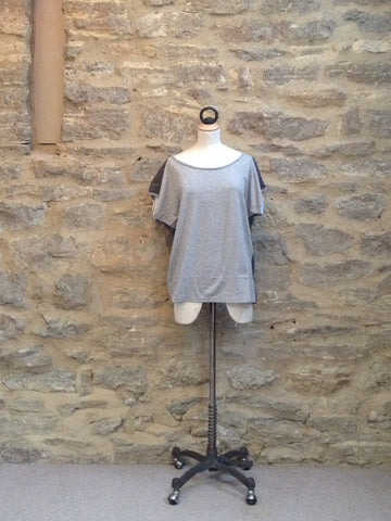 Plus Fine Teil Loose Fit T-Shirt Grey / Black