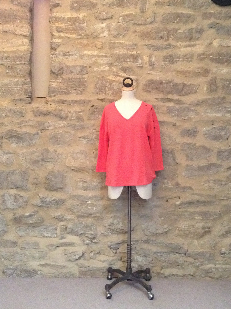 Lilla P Microstripe Waffle 3/4 Sleeve V-neck Top Hibiscus Coral