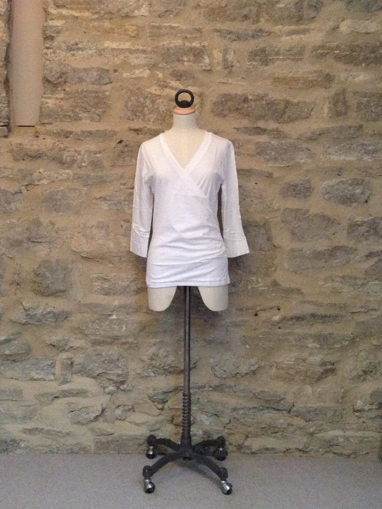 Lilla P 3/4 Sleeved V-Neck Wrap Front Top White