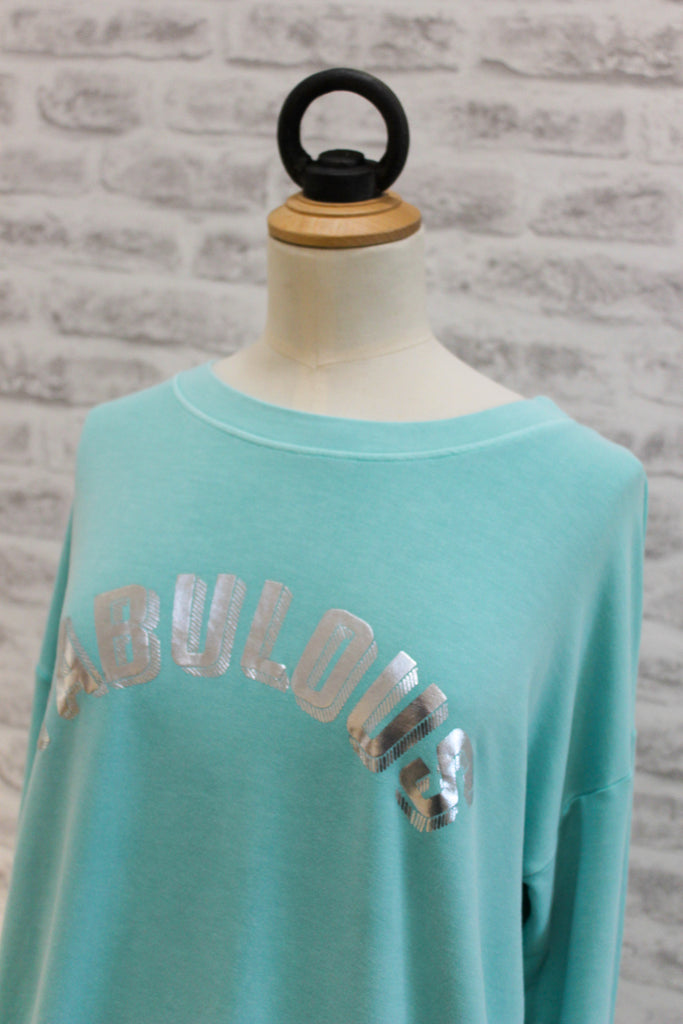 A Postcard From Brighton Fabulous Print Tee Aqua