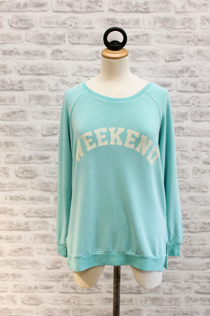 A Postcard From Brighton Weekend Print Sweat Aqua