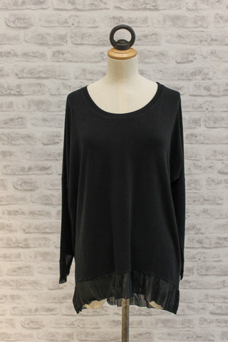 A Postcard from Brighton Dora Chiffon Frill Trim Top Black
