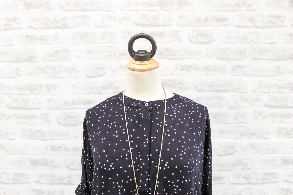 Saint Tropez Dotty Print Tunic with Ruffles, Dark Blue