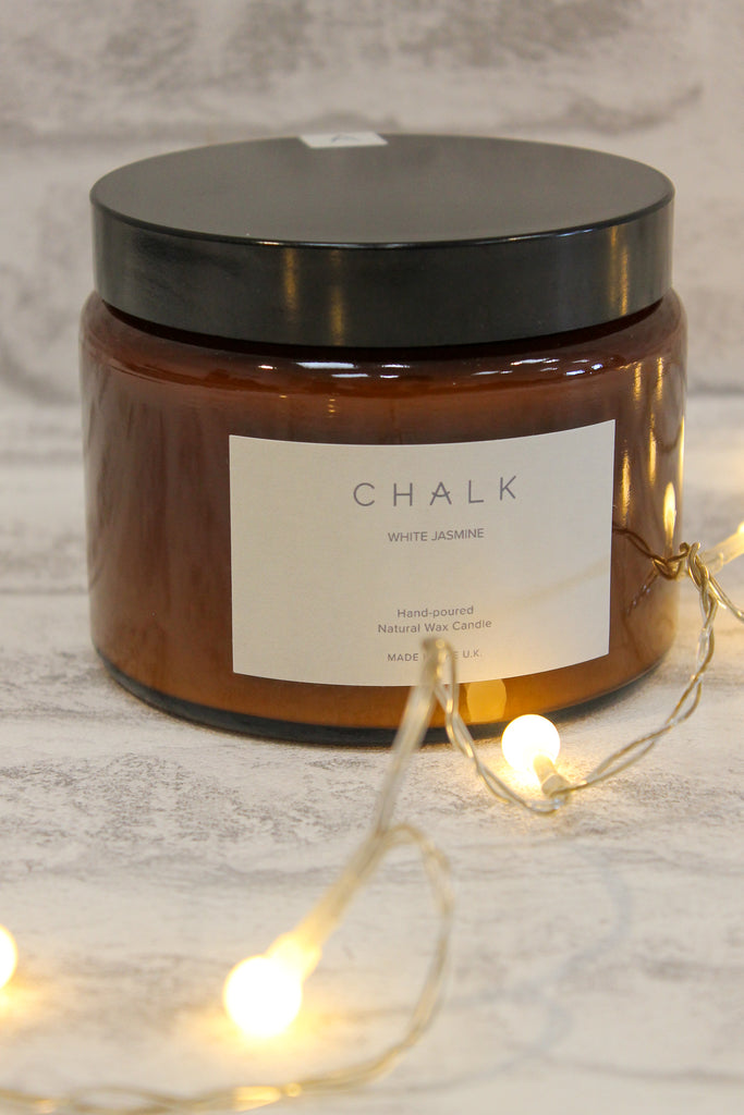 Chalk Amber Jar Candle White Jasmine 500ml