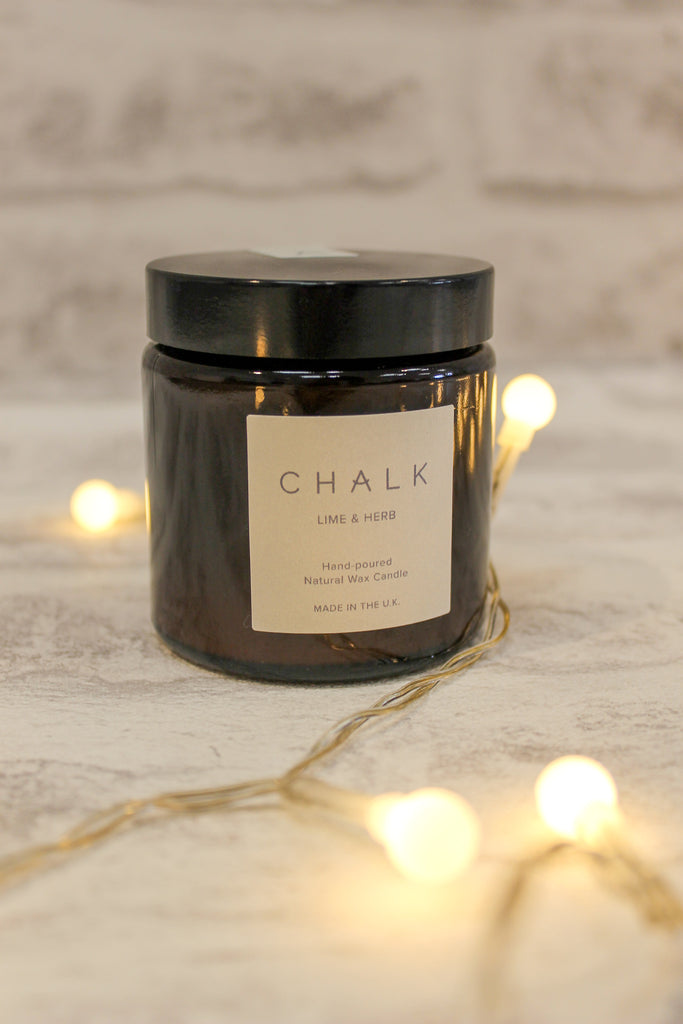 Chalk Glass Jar Candle Lime and Herb 120ml