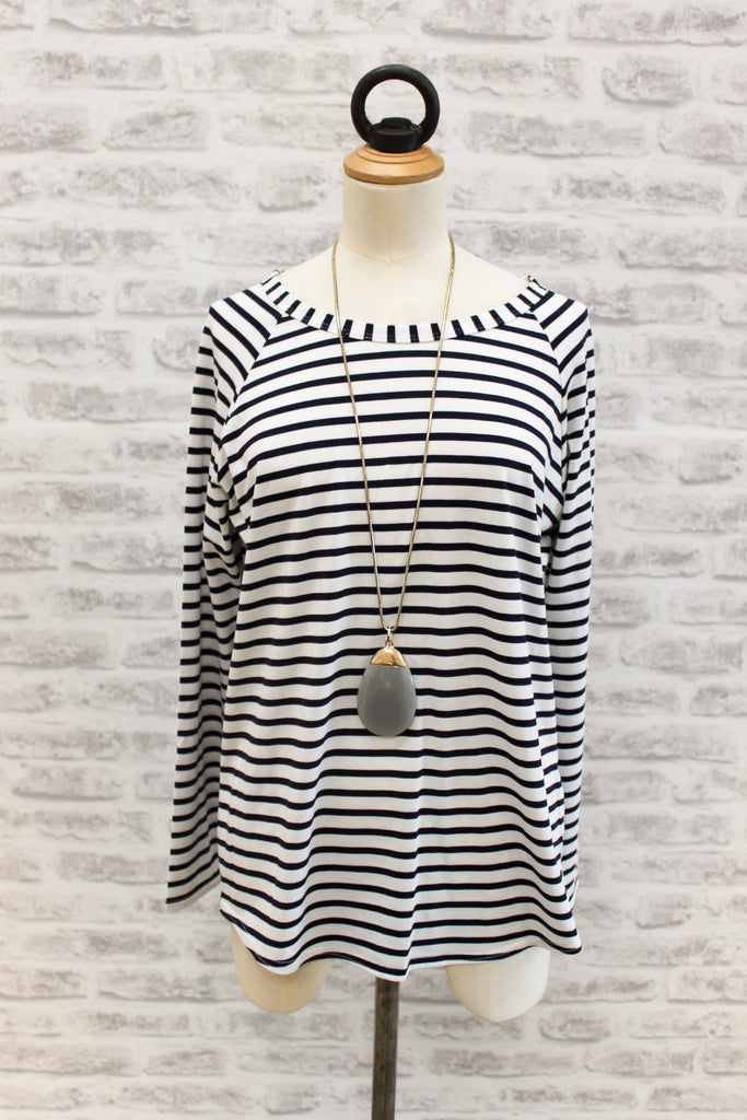 Chalk Tasha Long Sleeve T-shirt Navy Stripe