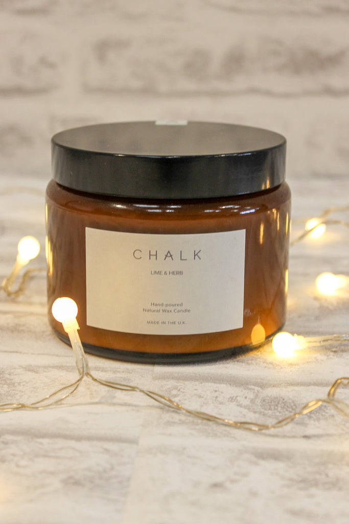 Chalk Amber Jar Candle Lime and Herb 500ml
