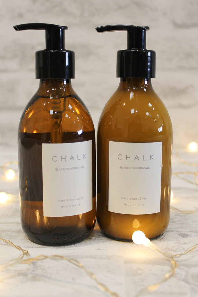 Chalk Amber Glass Hand & Body Wash Black Pomegranate