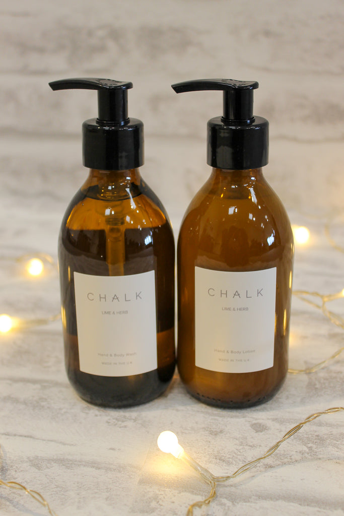Chalk Amber Glass Hand & Body Lotion Lime and Herb