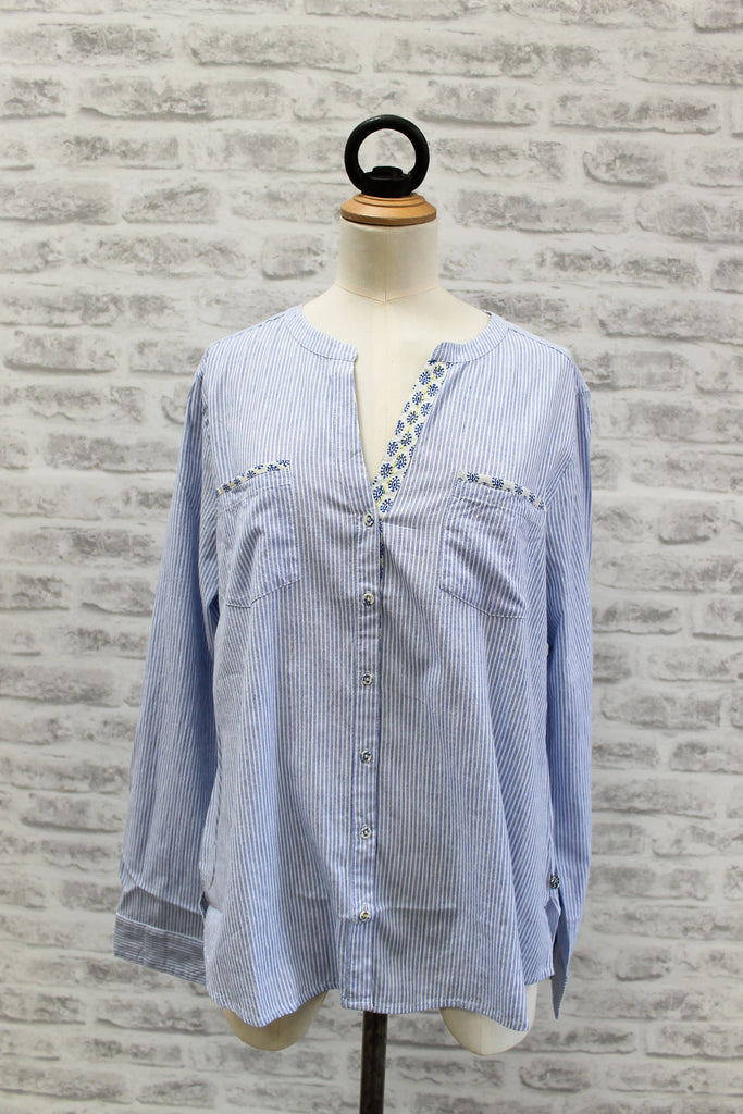 PLUS FINE Girona Long Sleeved Shirt Blue
