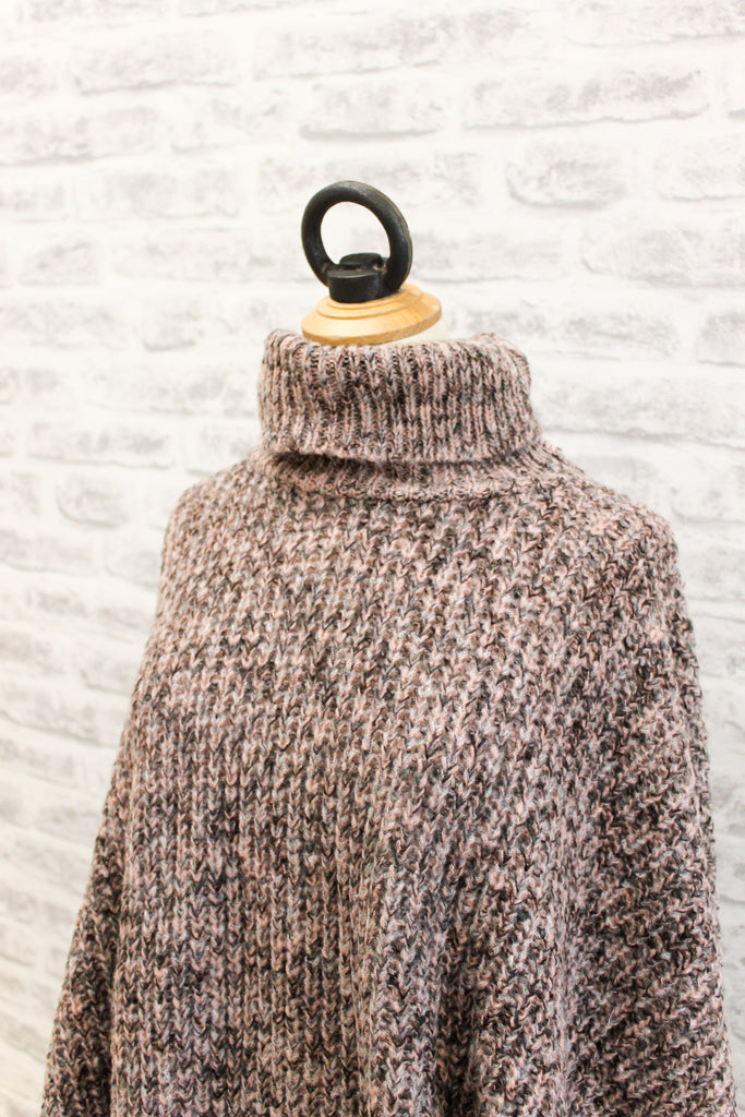A Postcard From Brighton Blanky Throw Over knitted Poncho, Blush