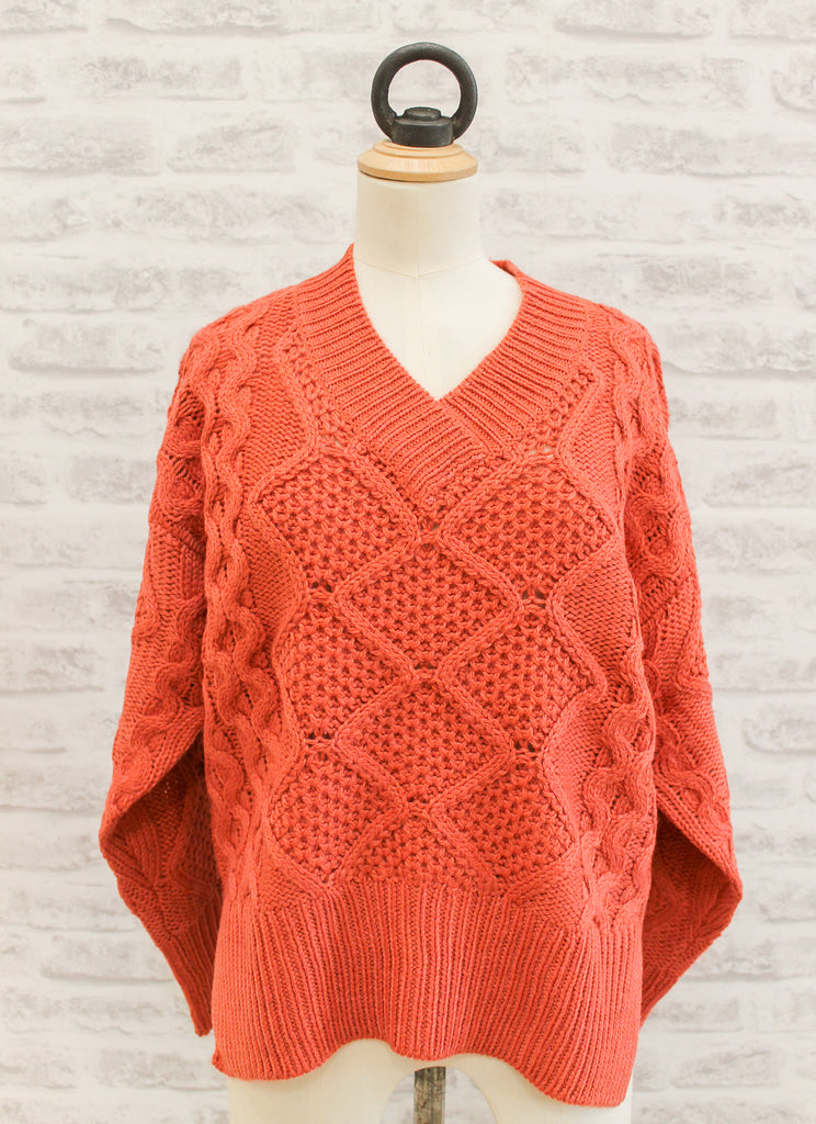 Saint Tropez Cable Sweater Burnt Orange