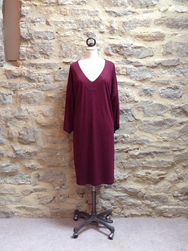 JUST FEMALE Ironic V-Neck Dress / Tunic Aubergine