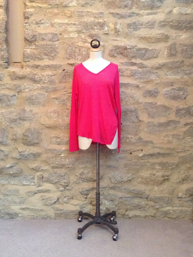 Twisted Muse Heroni v-neck Long Sleeved Top Pop Pink