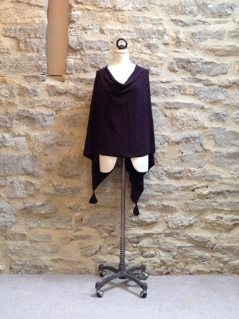 Saint Tropez Poncho with Tassels Very Deep Plum