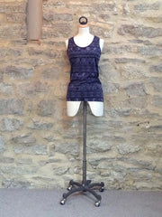 A Postcard from Brighton BEA Batik lace backed Vest Indigo Blue