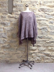 A Postcard From Brighton Angel knitted Poncho, Anthracite / Khaki