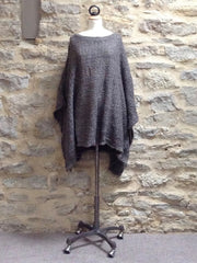 A Postcard From Brighton Angel knitted Poncho, Anthracite / Blue