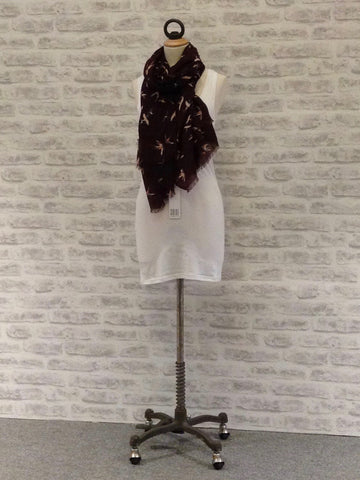 SAINT TROPEZ Bird Print Large Scarf, Wine