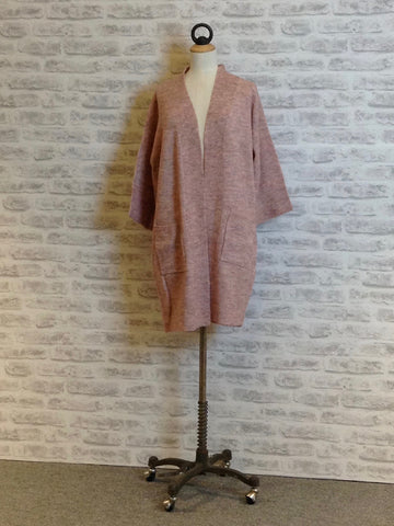 Saint Tropez Long Cosy Cardigan Blush Pink
