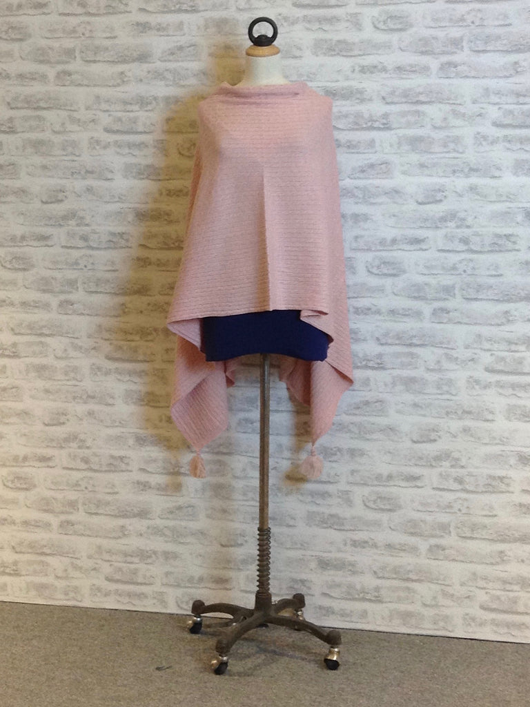 Saint Tropez Cable Knit Poncho, Soft Pink