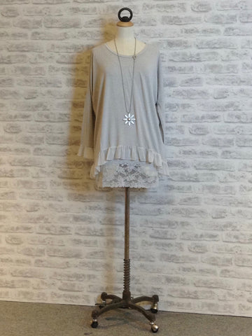 A Postcard From Brighton Karma Loose Top Pale Grey