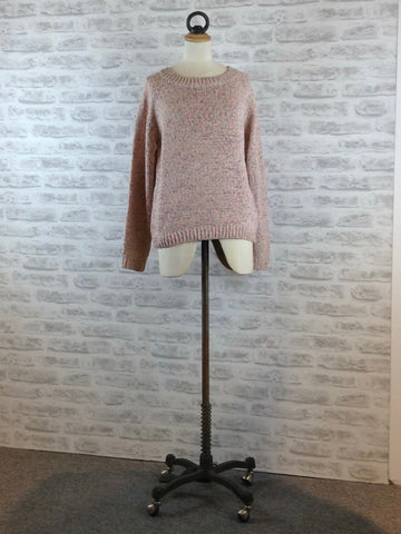 Saint Tropez Tape Yarn Knit Sweater, Pink Fleck