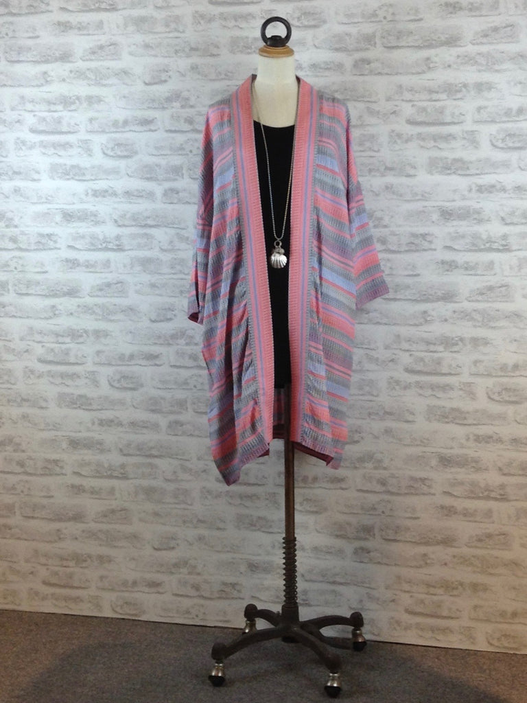 Saint Tropez Kimono Cardigan with wavy stripes, Pink / Blue Mix