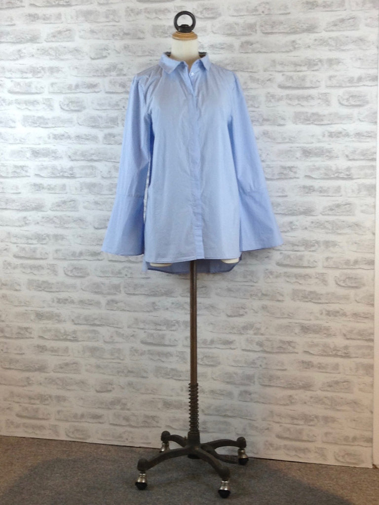 Saint Tropez Woven Shirt with Wide Cuff, Pale Blue