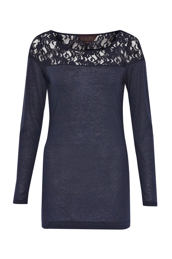 Great Plains Olivia Lace Yoke Long Sleeve Top Navy