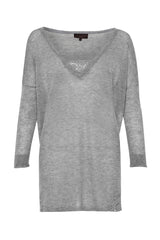 Great Plains Marella Lace V Neck Knitted Top Oatmeal