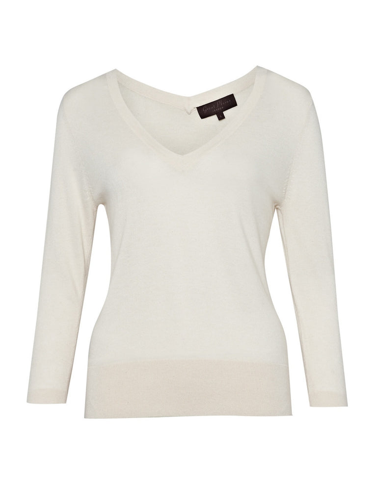 Great Plains Basic V Neck Jumper Cream