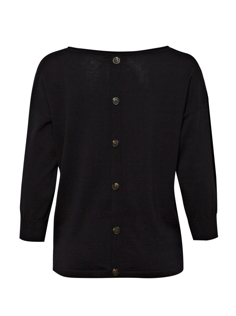 Great Plains Rhapsody Knit 3/4 Sleeve Button Back Black