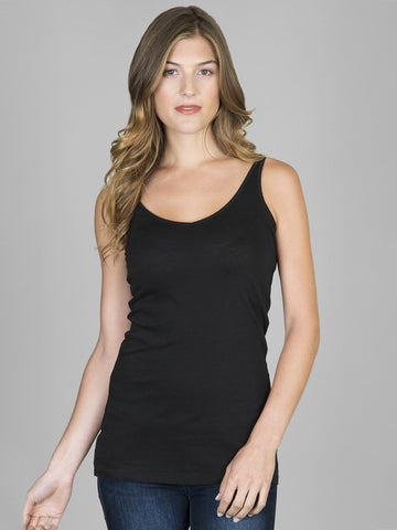 Lilla P Long V Neck Thin Strap Camisole Black
