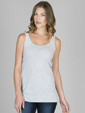 Lilla P Long Scoop Neck Tank Grey