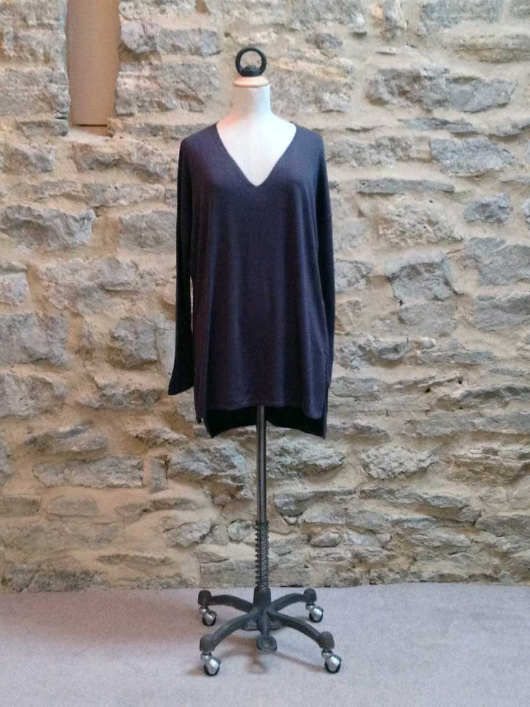 Saint Tropez V Neck Long Sleeve Loose Style Jumper Black