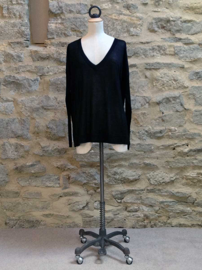 Saint Tropez Fine knit Jumper with Long ribbed sleeve Black