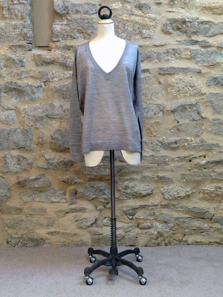 Saint Tropez Fine knit Jumper with Long ribbed sleeve Grey